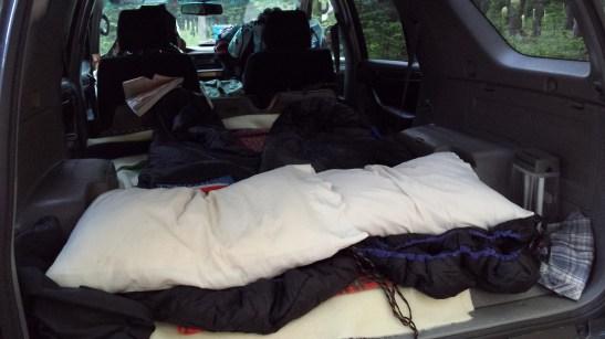 Sleeping in SUV
