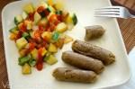 Maple Seitan Sausages with Squash Potato Hash