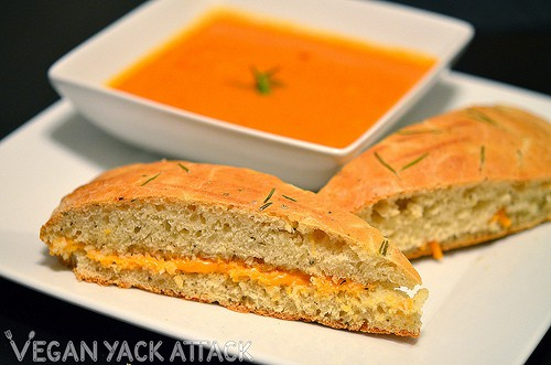 Creamy Tomato Basil Soup with focaccia grilled cheese sandwiches