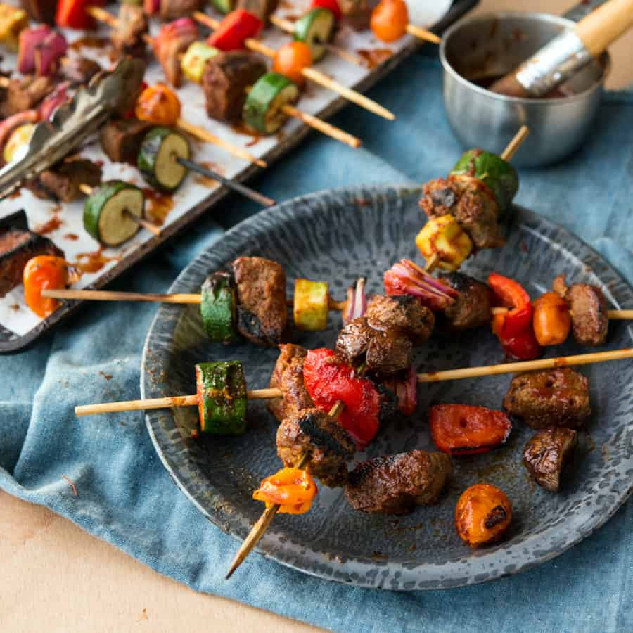 These Grilled BBQ Seitan Skewers with colorful veggies and savory sauce, are perfect for summer cookouts, or just enjoying at home!