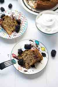Gluten-free Blackberry Banana Cake with Vegan Whip