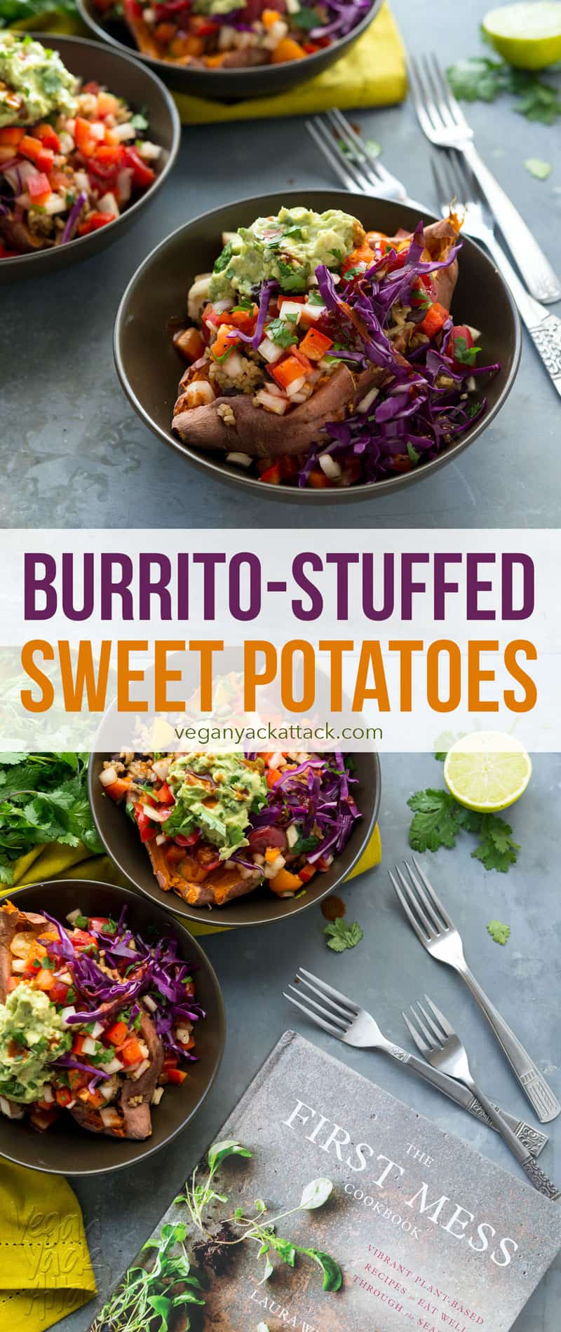 Burrito-Stuffed Sweet Potatoes - Black beans with rice, Rustic salsa and a simple guacamole stuffed inside roasted sweet potatoes! From The First Mess Cookbook #glutenfree #soyfree #giveaway
