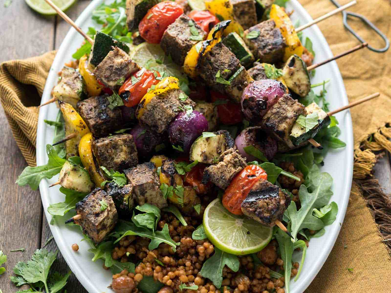 Grilled Tofu Shawarma Skewers! Perfect for Summer grilling, easy-to-make with Wild Garden's marinade. Vegan, Gluten-free #veganyackattack #wildgardeneats