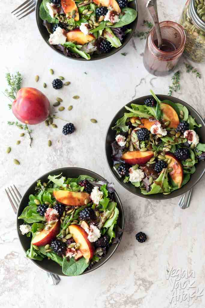 This Summery Salad has delicious nectarines, berries, homemade almond ricotta and a wonderful Blackberry Vinaigrette! It's as beautiful as it is tasty. #vegan #glutenfree #soyfree #veganyackattack