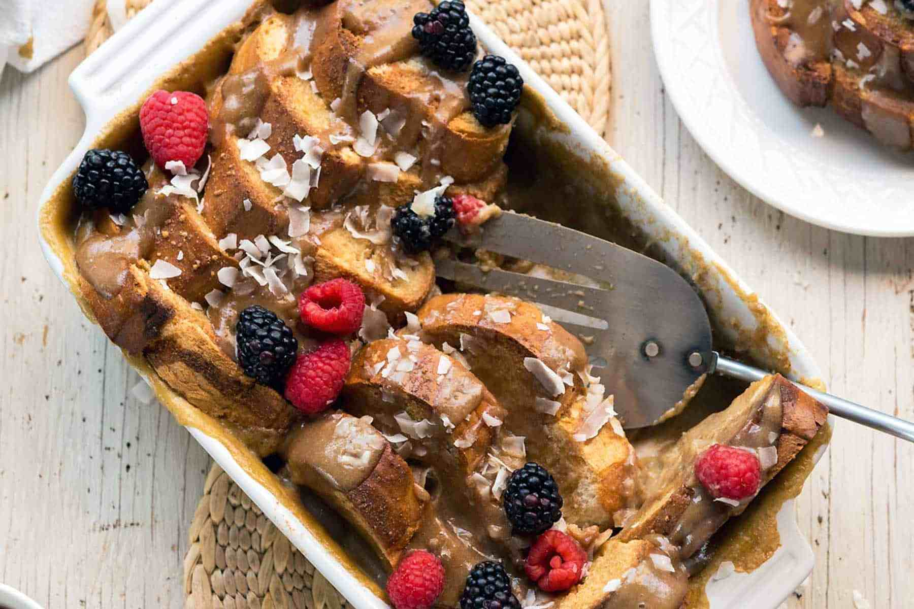 Salted Caramel French Toast Casserole? Yes, please! This decadent brunch staple is vegan, soy-free, and ridiculously delectable. Give it a try, you won't regret it!