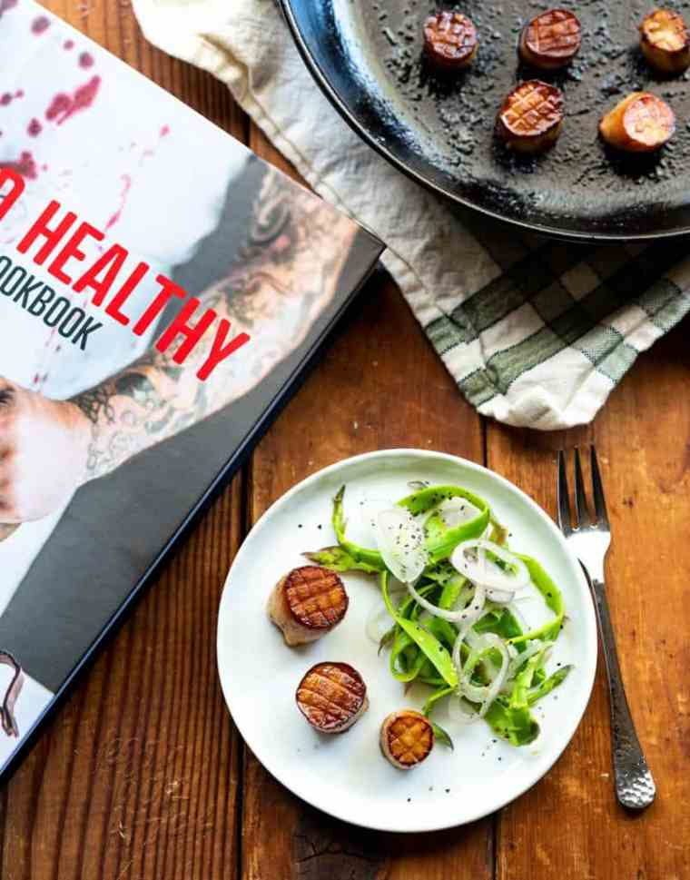 Incredible, vegan, King Oyster Scallops, made from King Oyster Mushrooms! Recipe from The Wicked Healthy Cookbook, and makes for an impressive appetizer.