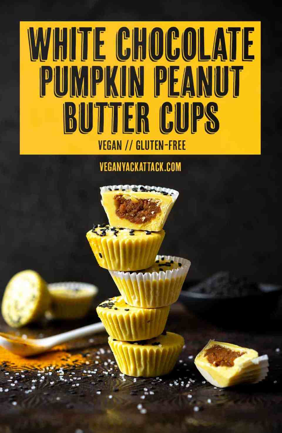 Need a unique, fall treat? These vegan White Chocolate Pumpkin Peanut Butter Cups are incredible, and easier to make than you might think! #dairyfree #glutenfree #veganyackattack