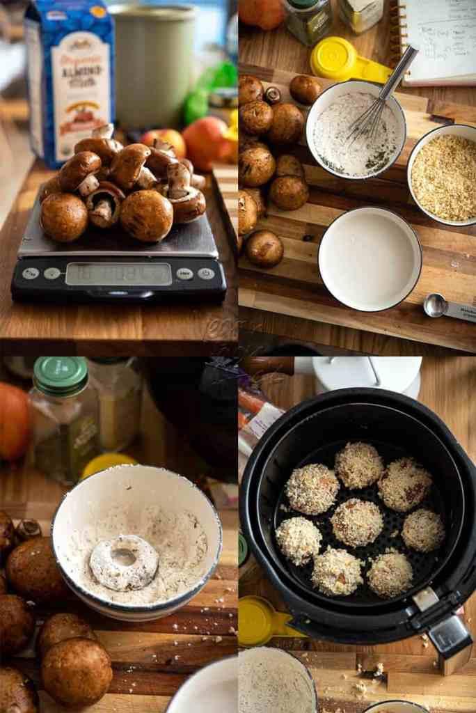 Making Air Fryer Breaded Mushrooms