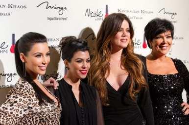 Kim Kardashian, Kourtney Kardashian, Khloe Kardashian and Kris Jenner pictured at Kardashian Khoas Grand Opening at The Miarge in Las Vegas, NV on December 15, 2011.