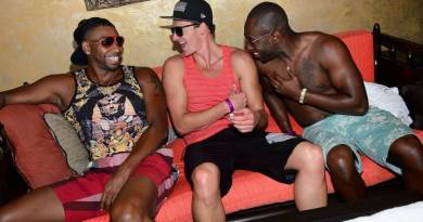 Ryan Lochte and friends at Tao Beach