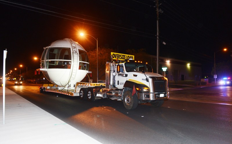 The first passenger cabin of the Las Vegas High Roller observation wheel is transferred to the wheel site early Monday, Nov. 4.