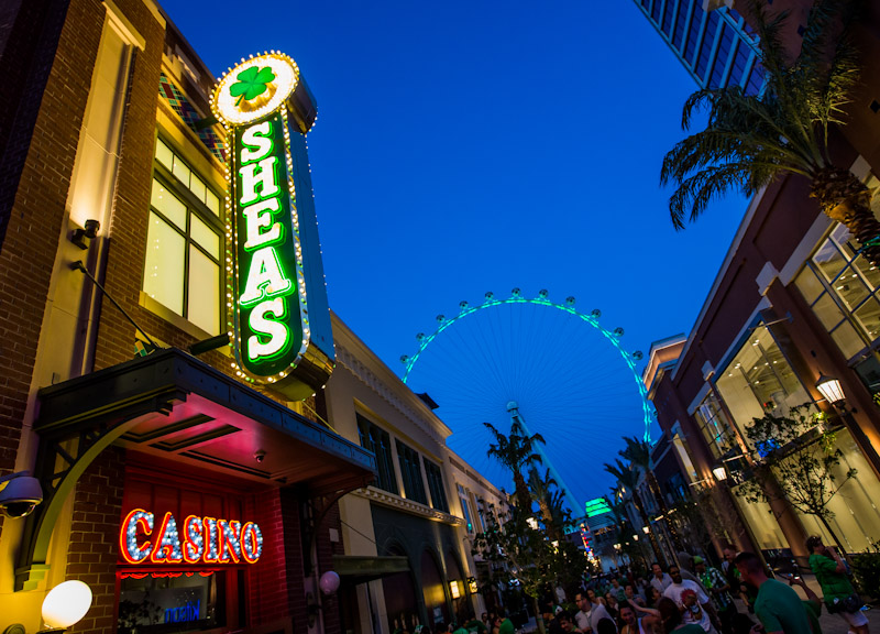 Shot of the high roller in green for at pats as seen from osheas block party