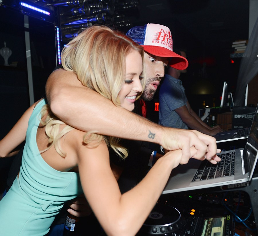 Brody Jenner and Kaitlynn Carter  in the DJ booth at Hyde Bellagio, Las Vegas
