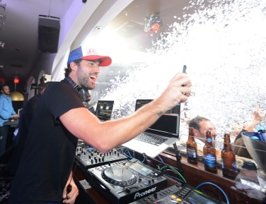 Brody Jenner pumps up the crowd in the DJ booth at Hyde Bellagio