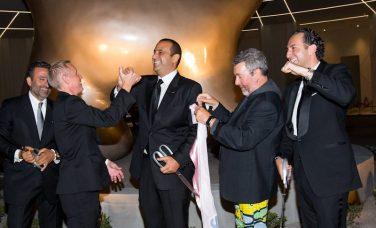 Arash Azarbarzin, Sam Nazarian, Sam Bakhshandehpour, Rob Oseland, and Philippe Starck at SLS Las Vegas Grand Opening