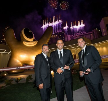 Arash Azarbarzin, Sam Nazarian, and Sam Bakhshandehpour at SLS Las Vegas Grand Opening