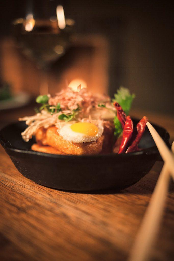 Lucky Foos - Fried Tofu with Quail Egg and Enoki Mushrooms