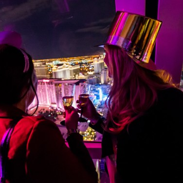High Roller passengers admire the Vegas Skyline during New Year's Eve 2015.
