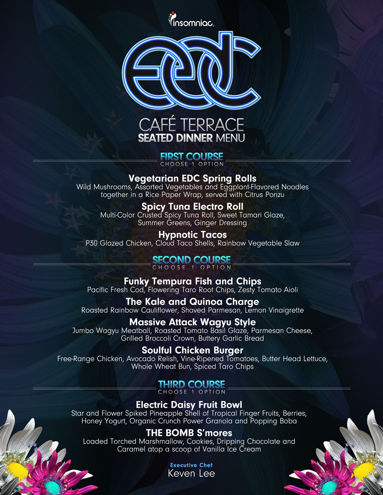 Insomniac Expands Culinary Experience - 3 Course Seated Dining Menu