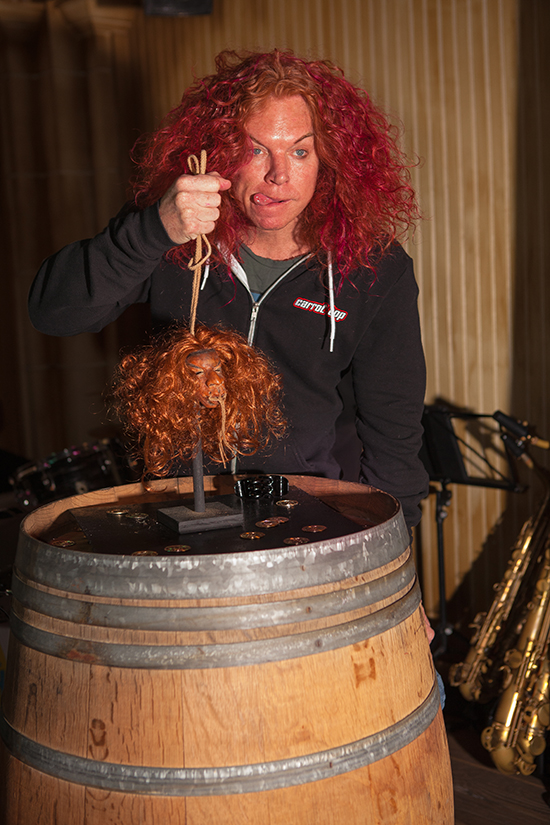 Carrot Top meets his shrunken head at The Golden Tiki