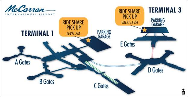 Ride Share Map at McCarran International Airport
