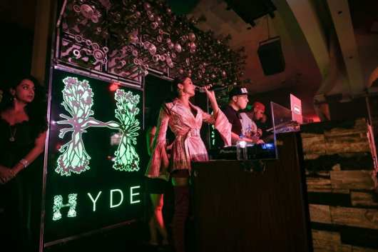 Pia Mia performs during her 21st birthday bash at Hyde Bellagio
