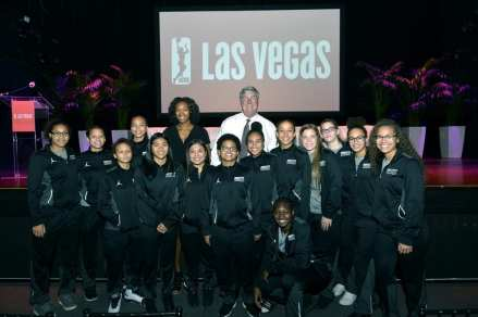Spring Valley High School Players with Bill Laimbeer at Las Vegas Aces & MGM Resorts Press Event