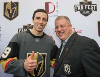 CEO of the D Las Vegas, Derek Stevens Poses with Goaltender Marc-André Fleury