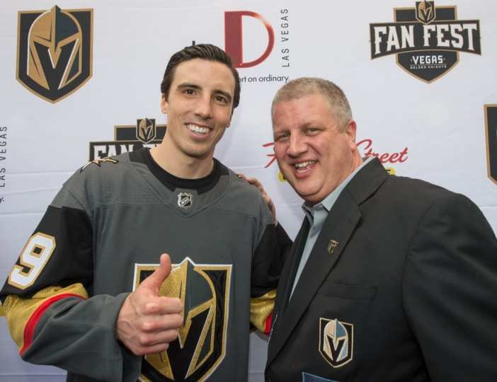 CEO of the D Las Vegas, Derek Stevens Poses with Goaltender Marc-André Fleury