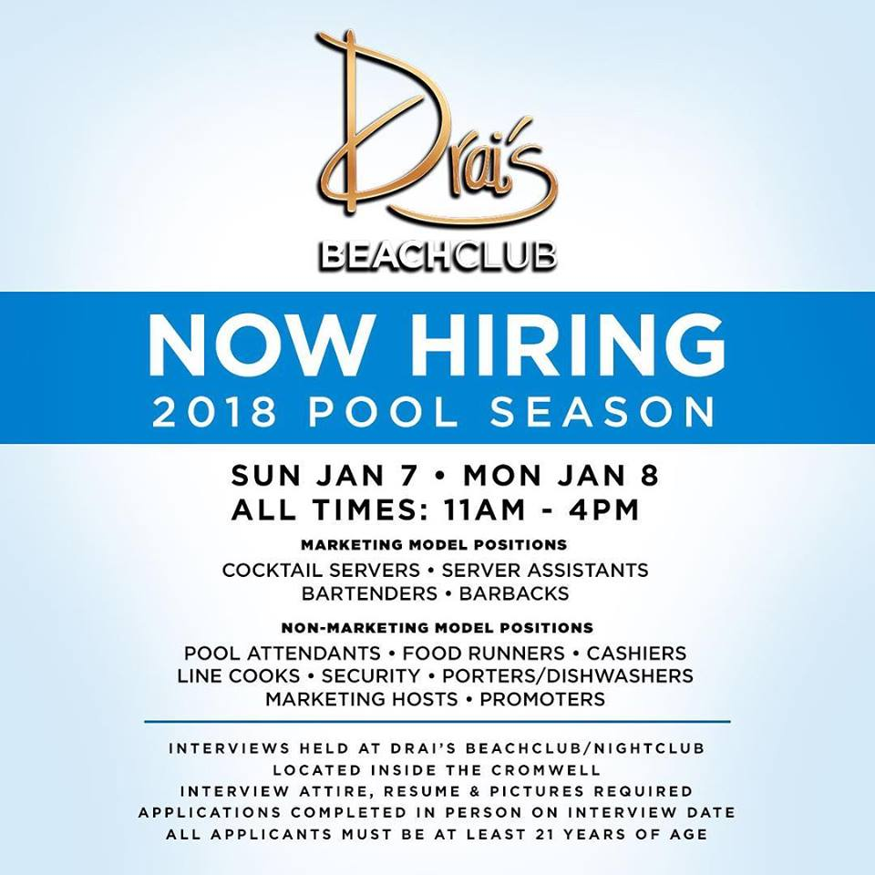 Drais Beachclub 2018 Pool Season Auditions