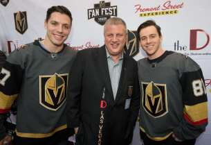 Left Wing David Perron and Center Jonathan Marchessault pose with Derek Stevens at Fan Fest