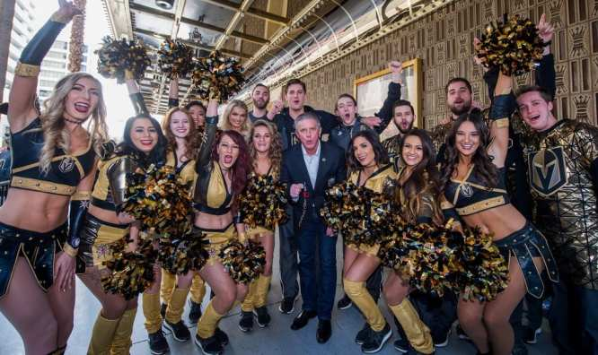 Team President Kerry Bubolz Poses with the Vegas Golden Knights Promo Team and Ice Crew at Fan Fest