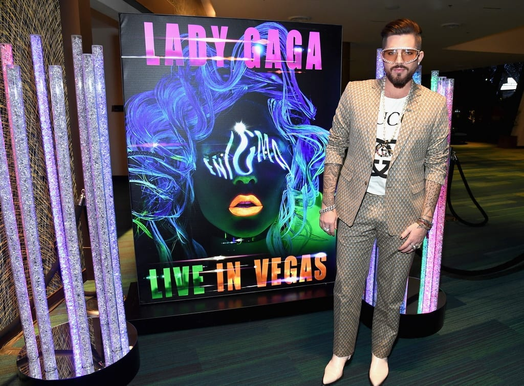 Adam Lambert attends premiere of LADY GAGA ENIGMA at Park MGM in Las Vegas