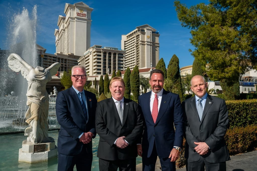 Raiders Owner, Mark Davis, and President, Marc Badain, presented Caesars President and CEO Mark Frissora and CMO Chris Holdren