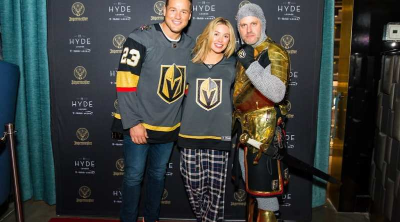 Colton Underwood and Cassie Randolph with Golden Knight at Hyde Lounge at T-Mobile Arena