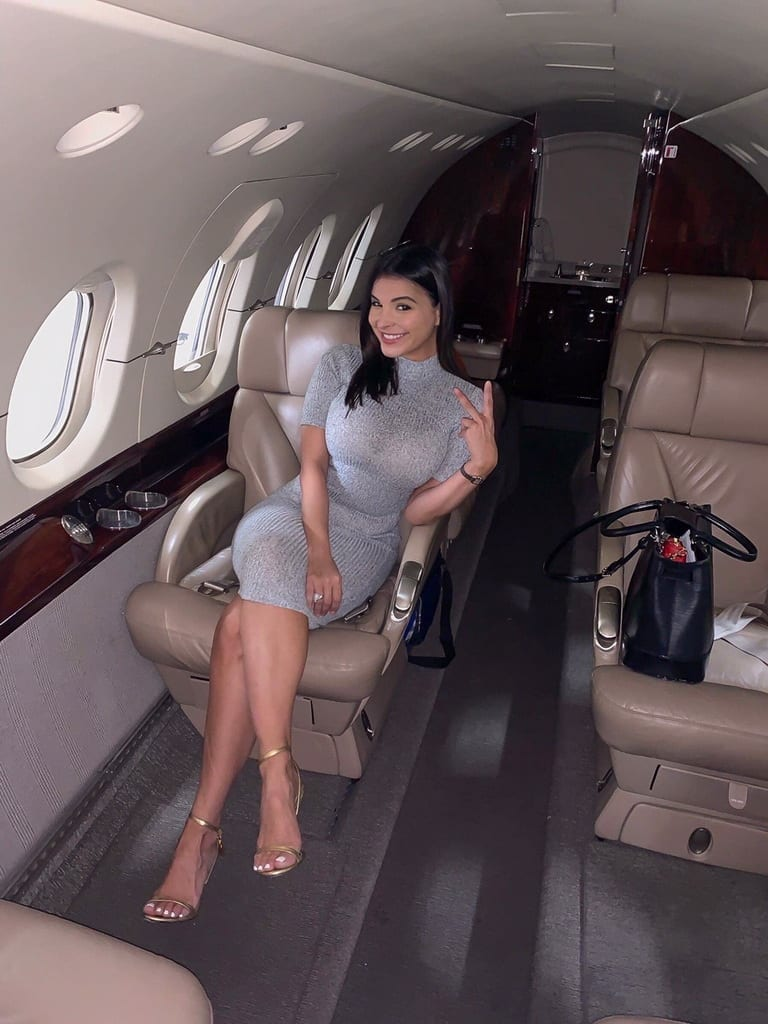 Mayra Veronica appears excited as she makes her way to Las Vegas on board a Cirrus Aviation jet in celebration of her hit single
