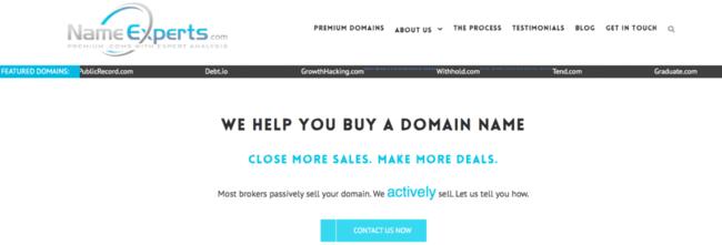 Изображение домашней страницы Name Experts.com доменных брокеров фирмы