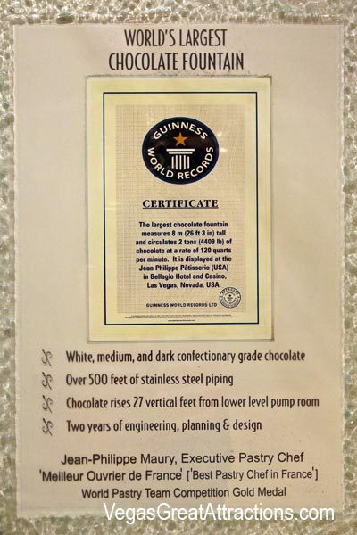 Bellagio Chocolate Fountain Certificate