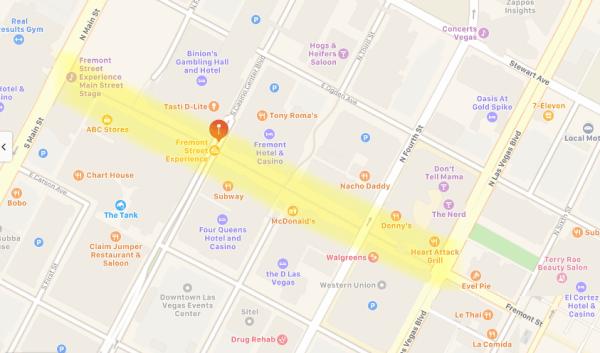 Fremont Street Experience Las Vegas Bing map