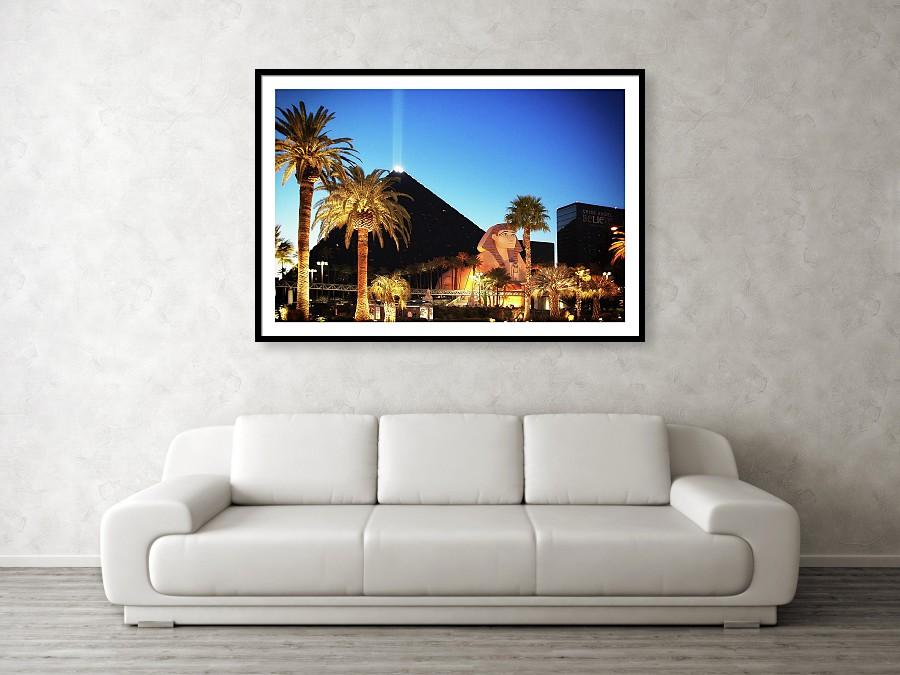 Luxor light beam, pyramid and sphinx Las Vegas - art print