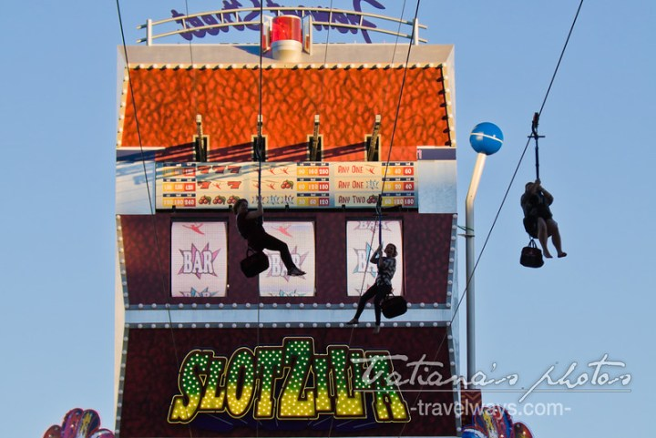 Slotzilla Zipliners on Fremont Street Experience