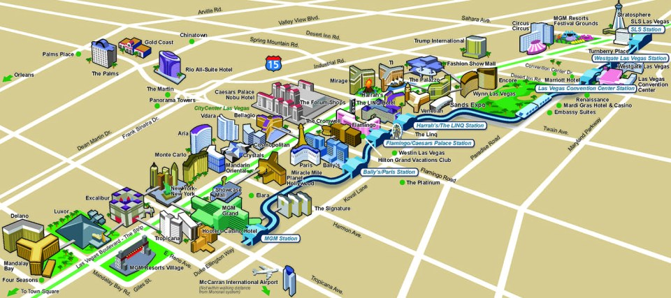 Las vegas Monorail map by the courtesy of lvmonorail.com
