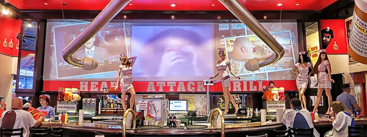 Heart Attack Grill Downtown Las Vegas - A Cool Satire To Unhealthy Foods :)
