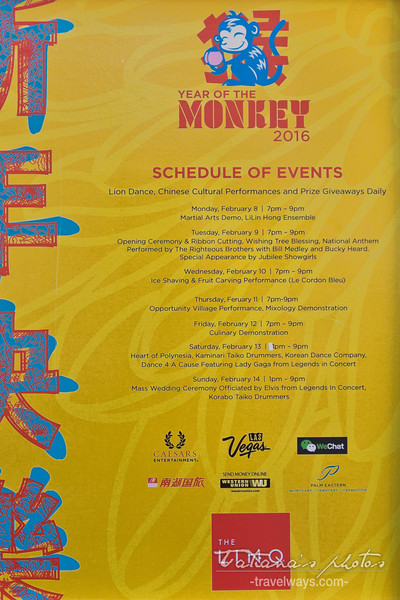 Schedule of Events on Linq Promenade for the Chinese New Year 2016
