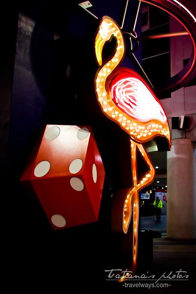 Flamingo neon sign on Slotzilla tower - Fremont Street Experience, Las Vegas