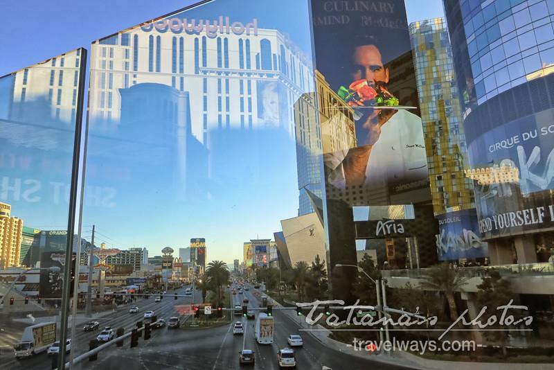 Las Vegas Strip viewed from a crossing bridge