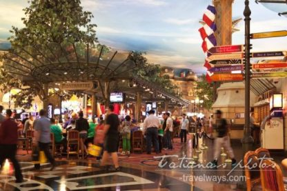 Streets signs and people on Montmartre at Paris hotel and casino in Las Vegas