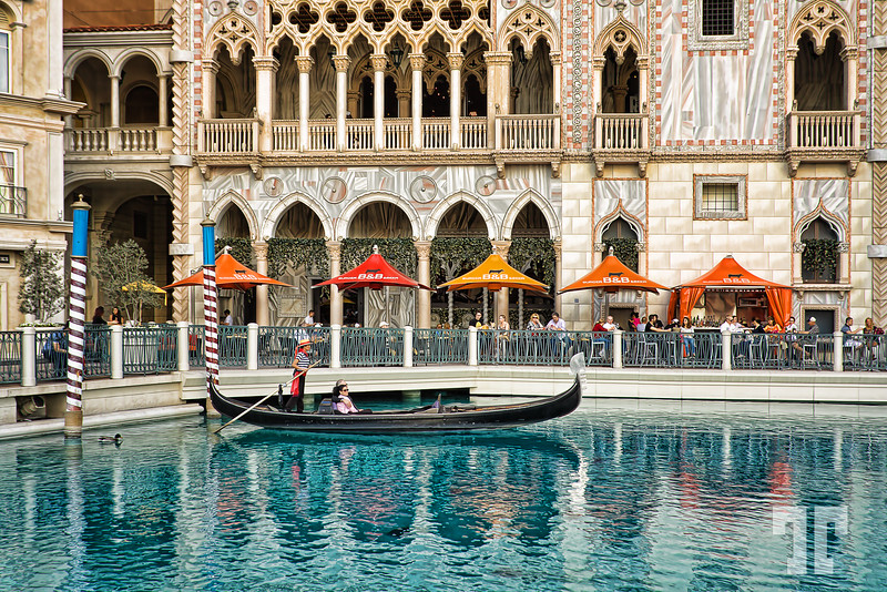Gondola ride and water reflections at the Venetian Hotel, Las Vegas