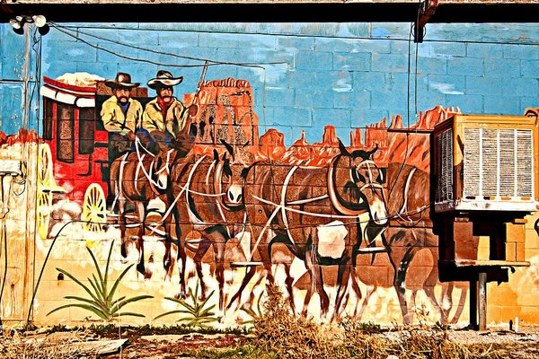 Wild West mural in Dolan Springs, Arizona