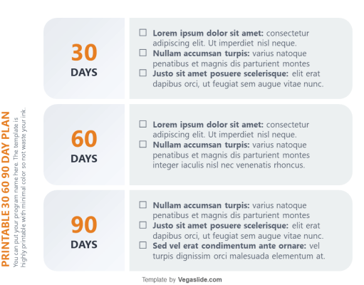 Printable 30 60 90 Day Plan PowerPoint Template